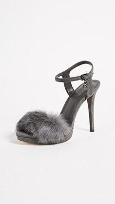 5d7be5917184 Worn Once MICHAEL Michael Kors Grey Faye Genuine Rabbit Fur Sandal Heel  Size 6