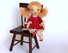 Miniature cloth doll  Tiny doll Rag doll in box Mini doll