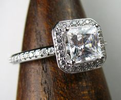 Diamond Halo Engagement Ring Princess Cut by spexton on Etsy, $1599.00