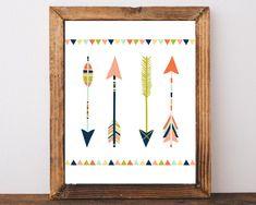 Arrow Print, Arrow Wall Art, Tribal Nursery Wall Decor, Tribal Arrows, Kids Prints, Instant Download, Arrow Printable, Childrens Wall Art by AdornMyWall on Etsy