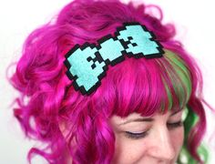 8 Bit Bow Headband Pixel Bow by JanineBasil - so many cute hair accessories here!