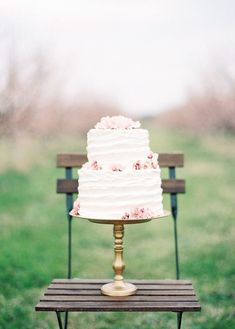 Delicate Orchard Wedding Cake | Landon Jacob Photography | Modern Anne of Green Gables Wedding Inspiration in Blush and Spring Green