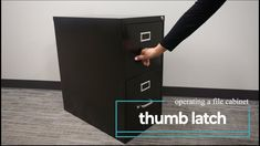 Learn how to open a vertical file cabinet door using the thumb latch button. Cabinet Doors, Filing Cabinet, Paper Storage, Cabinets, Metal, Home Decor, Products, Armoires, Decoration Home