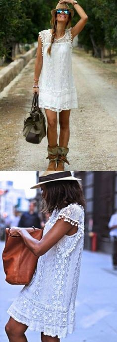 Boho Fashion: Relax in easy, breezy style with the Boho Fringe Lace Dress. This A line dress will take you from the beach, to lunch or out for a casual weekend romance. White Boho Dress, Lace Dress, Casual Dresses, Casual Outfits, Summer Dresses, Look 2017, Boho Fashion, Fashion Outfits, Fashion Styles