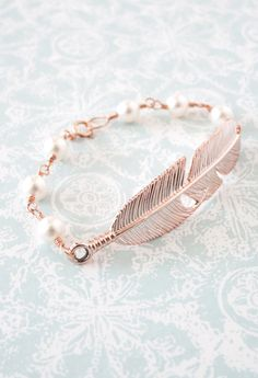Rose Gold Feather Bracelet  Swarovski pearl beaded by ColorMeMissy, $28.00