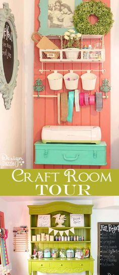 """Take a peek into my craft room! Love the craft """"storage-on-a-door"""" organizer, metal toolbox for supplies and glitter jar storage ideas! This is where all the magic happens. Perfect storage shelf for my Cricut. See the full tour on Design Dazzle!"""