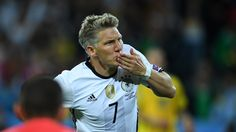Bastian Schweinsteiger of Germany celebrates after scoring their second goal during their UEFA EURO 2016 Group C match against Ukraine