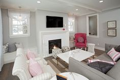 Light Gray Living Room with different shades of pink accents.  I could do this in Grace's bathroom or the guest room maybe?