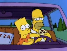 The Simpsons - Bart steers while Homer eats