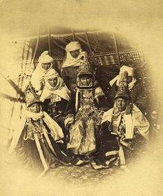 nomadic people Kazakh, married women and brides. Look like Epirus Region of Greece traditional costumes (same as theis carpets) Old Pictures, Old Photos, Vintage Photos, Married Woman, Silk Road, Boho Pillows, Central Asia, Vintage Textiles, Kazakhstan