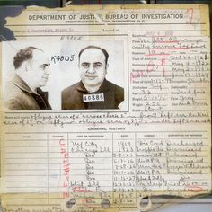 Al Capone - Criminal Record - Rare - History - Vintage - Photograph - Print - Photo - Photography - Mafia - Chicago - Mobster - Prohibition Al Capone, Real Gangster, Mafia Gangster, Vintage Photographs, Vintage Photos, Puerto Rico, Chicago Outfit, History Posters, History Facts