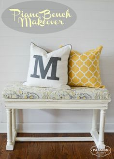 My Passion For Decor Piano Bench Makeover.  Chalk Paint™ decorative paint by Annie Sloan in Cream and Pure White.  New linen fabric upholstered seat.  #yellow #grey #white #chalkpaint #vintage #paintedfurniture #bench #piano