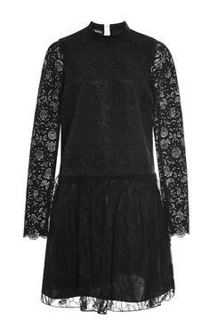 Chrysanthemum Macrame Black Lace Dress by  for Preorder on Moda Operandi