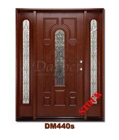 Mahogany Exterior Fiberglass Door with Sidelites 440 | Darpet Interior Doors for Chicago Builders