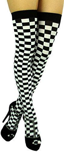 0c10becd7a9e8 ToBeInStyle Women's Checkered Wide Elastic Band Thigh Hi Stocking - One  Size - Black/White