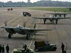 """RAF de Havilland Mosquito, movie clips from """"633 Squadron"""" 1964."""