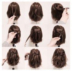 cute! seems easy enough... Easy Hairstyles For Short Hair, Short Bob Updo, Diy Short Hair, How To Style Short Hair, Style A Lob, Hairstyles For Medium Length Hair Tutorial, Ponytails For Short Hair, Medium Hair Updo Easy, Short Hair Tutorials