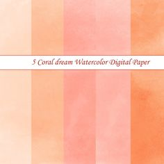 5 Coral dream Watercolor Background Digital by PassionPNGcreation