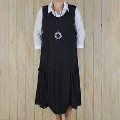 2965d46faa Ladies Lagenlook Plus Size Tunic Dress Sleeveless – BLACK Plus Size Tunic  Dress