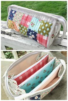 This week I started my very first Sew Together bag ( pattern by Sew Demented ) using a bundle of Little Miss Sunshine fabrics by Lel. Diy Sewing Projects, Sewing Projects For Beginners, Sewing Hacks, Sewing Tips, Sewing Tutorials, Sewing Ideas, Sewing Basics, Patchwork Bags, Quilted Bag