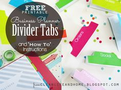 Clean Life and Home: Free Printable: Divider Tabs Pages for Your Business Planner and Step by Step Instructions