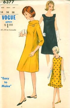 Classy Princess Shaped Mod Vintage 1960s Vogue 6377 Easy to Make Maternity Dress Sewing Pattern 3 Pretty styles. $9.00, via Etsy.