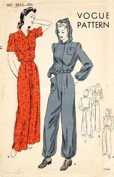 Vintage Dress Patterns, Vintage Dresses, Vintage Outfits, Vintage Jumpsuit, Vintage Pants, Vogue Sewing Patterns, Clothing Patterns, Pattern Sewing, 1940s Fashion