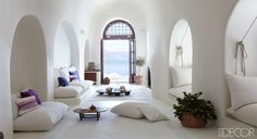 Santorini, Greece / cave house / interior design Elle Decor