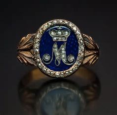 Russian Imperial award ring with cipher of Empress Maria Feodorovna.