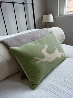 Apple green hand printed leaping hare cushion 24x16  by helkatdesign @ Etsy $74.00