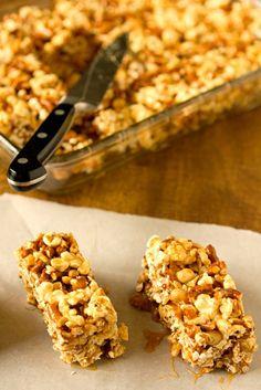 Salted Caramel Popcorn, Pretzel & Peanut Bars