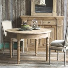 This Park Hill Rustic Round Dining Table features elegant round form with turned legs. This gorgeous table is perfect for the French style home. Farmhouse Furniture, Shabby Chic Furniture, Furniture Decor, Vintage Furniture, Painted Furniture, Rustic Round Dining Table, Dining Room Table, Round Tables, Dining Rooms