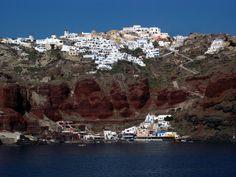 Oia and Amoudi port from the bay, Santorini (Thira) Santorini Island, Minoan, Mediterranean Sea, Greece, River, Adventure, Outdoor, Greece Country, Outdoors