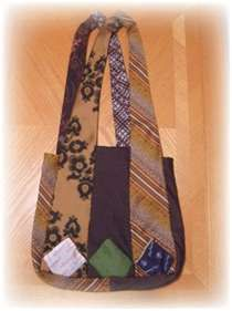 Necktie tote with great handles  I really have to find a new craft, so I can use all my ties..... this one might work!