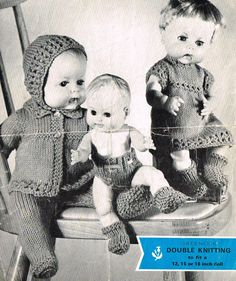 Dolls clothes knitting pattern for 121518 doll. by KnittingNannyMo