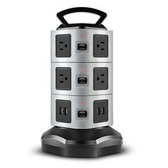 TNP Power Strip with USB Surge Protector  10 AC Outlet  4 USB Port Charger Charging Station Power Supply Adapter Multi Socket Plug Powerstrips Bar Stand Tower Individual Switch 6FT Extension Cord * For more information, visit image link.