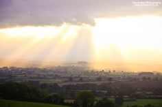 Rays of Sun over Countryside. Available as Wall Art (Canvas, Poster, Mounted Print, Acrylic, Aluminium and Gloss Print: http://thebellsistersart.com/shop/rays-of-sun-over-countryside/