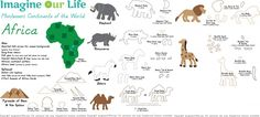 Los animales de África para el Montessori Muro Mapa y Quietbook
