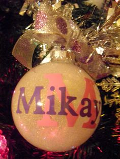 personalized glitter ornament with name date bow ribbon large 4 glass christmas ornament - Christmas Decorations Names