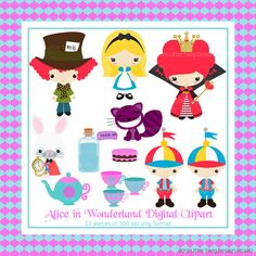 Alice in Wonderland Digital clip Art Clipart Collection- Personal and Small Commercial Use     INSTANT DOWNLOAD now available. $5.00, via Etsy.
