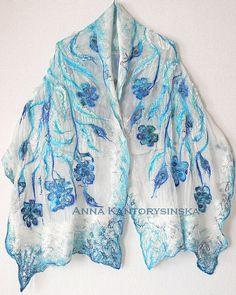 ready to ship nuno felted silk scarf shawl ROYAL by kantorysinska