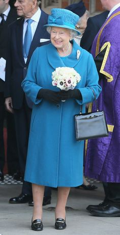 Queen Elizabeth II leaves after an official visit to Royal Holloway at University Of London on March 14, 2014 in Egham, England.
