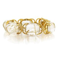 Verdura Pebble Bracelet. Rutilated quartz and gold.  A natural material, each rutilated quartz is unique and may vary from the sample shown in terms of color, number of rutiles, and degree of transparency.