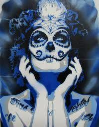Blue Sugar Skull Tattoo - Dia de Los Muertos - Day of the Dead Sugar Skull Artwork, Skull Wall Art, Mexican Skull Tattoos, Sugar Skull Tattoos, Sugar Skull Girl, Sugar Skulls, Medium Tattoos, Behind Ear Tattoos, Day Of The Dead Skull