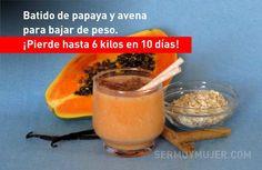 Batido de papaya y avena para bajar de peso. ¡Pierde hasta 6 kilos en 10 días! Healthy Eating Tips, Juice, Health Fitness, Pudding, Fruit, Cooking, Desserts, Base, Recipes