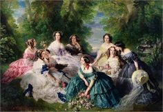 """""""Empress Eugenie Surrounded by her Ladies-in-Waiting"""" -- by Franz Xaver Winterhalter (1805--1873, German)"""