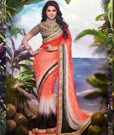 Buy Orange Crepe Jacquard Party Wear Saree 71540 with blouse online at lowest price from vast collection of sarees at Indianclothstore.com.