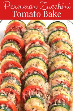 Parmesan Zucchini Tomato Bake is a simple recipe with layered fresh tomatoes, zucchini and summer squash topped with garlic, onion and parmesan cheese! #healthy #cleaneating #zucchini #parmesan #tomatoes #sidedish #glutenfree #cheese Tomato Zucchini Bake, Baked Parmesan Tomatoes, Zucchini Parmesan, Zucchini Tomato Casserole, Baked Squash And Zucchini Recipes, Healthy Zucchini Recipes, Veggie Bake, Recipes With Yellow Squash, Skinny Meals