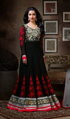 Shraddha Kapoor Black Georgette Long Anarkali Churidar Suit Mesmerize and astound your onlookers just like Shraddha Kapoor in this black faux georgette long Anarkali churidar suit. Resham embroidered and stick on crystals ornamented elegant foliage patterns on the yoke and kalis form the breathtaking appearance. Contrasting hemline patch makes the ensemble stand a class apart.   #LongAnarkaliChuridarSuit #BuyPartyWearAnarkaliSuits