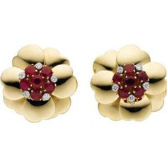 Ruby, Diamond, Gold Earrings, Aletto Brothers